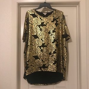 Lularoe Elegant Rose Irma - Small - Black / Gold